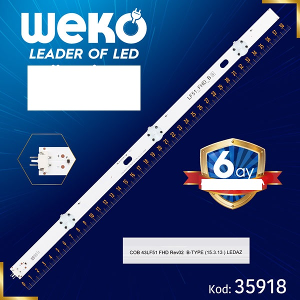 LED STRIP  COB 43LF51 FHD REV02 B-TYPE 386MM 3LED LED STRIP LG 43